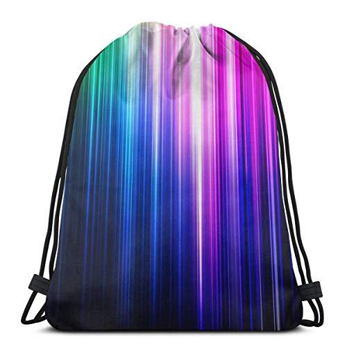 OPLKJ Gym Sacs à cordon, Glow Light Blue Tote Backpack Sackpack Pour les étudiants Gym Sack Bag For Travel Beach Serviettes Storage Bag