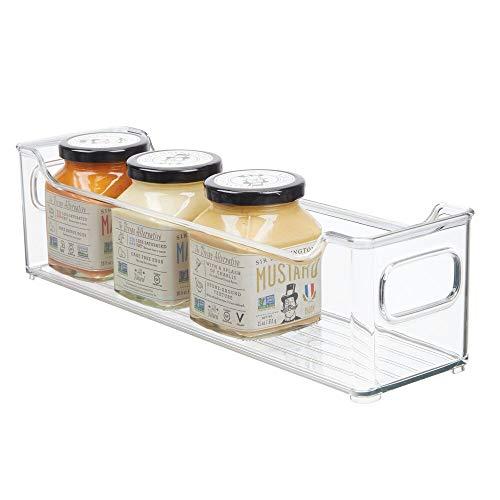 mDesign Fiambreras para el frigorífico – Cajas de plástico para guardar alimentos – Organizador de nevera para tarritos infantiles y otros productos – transparente
