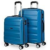 ITACA - Juego Maletas de Viaje rígidas 4 Ruedas Lisas Trolley 55/67 cm abs. s y Ligeras. candado. 2 tamaños: pequeña Cabina 55x40x20 cm y Mediana. Estudiantes. t71615, Color Azul