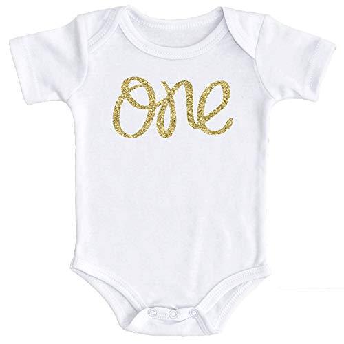 Baby Girls First Birthday Onesie Sparkly Gold One 18-24 months short sleeve Gold