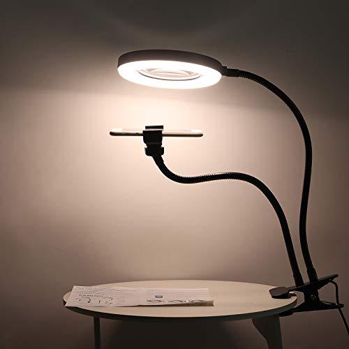 ESYNIC Lámpara de Aumento LED de 10X Lámpara de Escritorio de Manos Libres 72 LEDs con Luz 3 Colores y 10 Niveles de Atenuación Lámpara Lupa Ajustable de USB Alimentada para Leer, Coser, Soldar etc