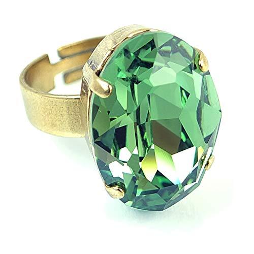 nobel-schmuck Damen-Ring mit Kristall von Swarovski® Grün Gold Größe verstellbar