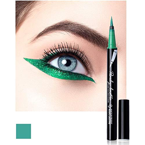 Eyeliner Pencil Eye Liner Pen Green Liquid for Women Girl Matte Long Lasting Professional Smudge Proof and Waterproof Natural Perfect Eye Makeup with Non-dizzy Dyeing (Green)