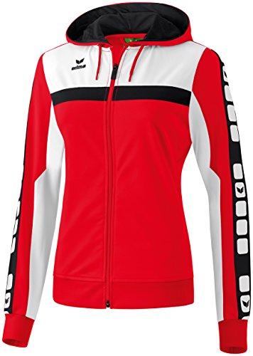 Erima Damen Classic 5-C Trainings Sportsjacke, rot/weiß/schwarz, 34
