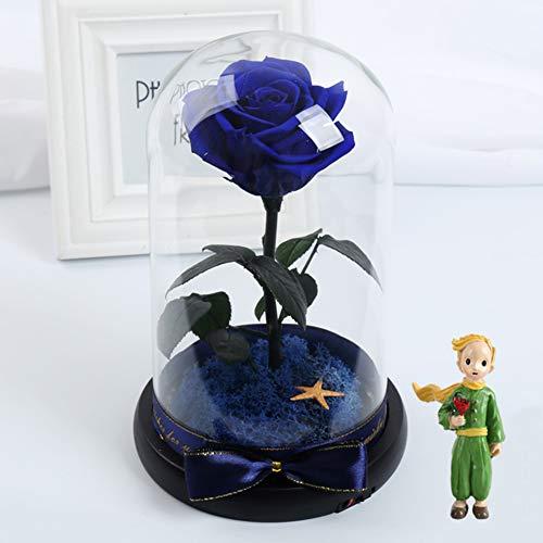 GE&YOBBY krijgbare rozen, handmade Nie Withered Real Rose in glazen koepel, echte douche roos met ledverlichting voor Kerstmis, Valentijnsdag, verjaardag