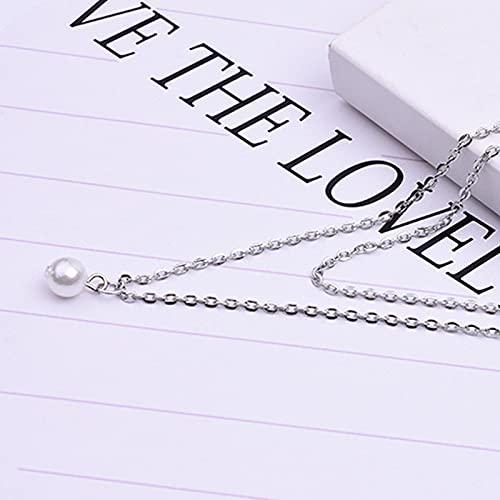 Collar Joyas Dulce Simple Collar De Clavícula De Perlas De Doble Capa con Encanto Gargantilla para Mujer Colgante De Cadena Moda Femenina Joyería De A