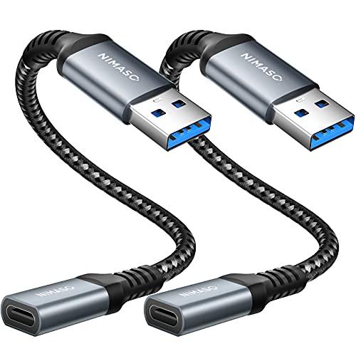 NIMASO Adaptador USB C a USB (2 Pack) USB C Hembra a Tipo A USB Macho Adaptador de Cable de Cargador Tipo C para iPhone 12/11 Pro MAX, Samsung Galaxy S21/S20/Note 10/S10,Huawei P40/P30,Google Pixel 4