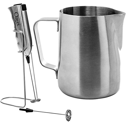 Ozeri OZMF2 Deluxe Stainless Steel Milk Frother and 12Ounce Frothing Pitcher with Extra Whisk Attachment Silver