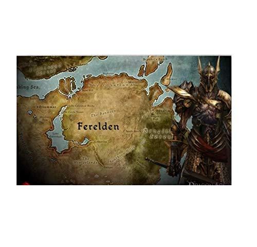 HJZBJZ Dragon Age Origins Mapas Póster e Impresiones Lienzo Arte de la Pared Impresiones en la Pared para la decoración de la Pared del hogar Decoración Regalo -60x90cm Sin Marco