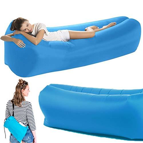 TSARLTD Inflatable Lounger Air Lazy Bed Sofa Lay Sack Hangout Camping Beach Bean Bag (BLUE)