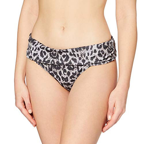 Amazon-Marke: Iris & Lilly Bikinihose Damen umgeschlagener Bund Leomuster, Grau (Animal Print), M, Label: M