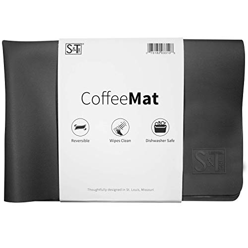 S&T INC. Coffee and Java Maker Mat - 12 Inch x 18 Inch, Silicone Grey