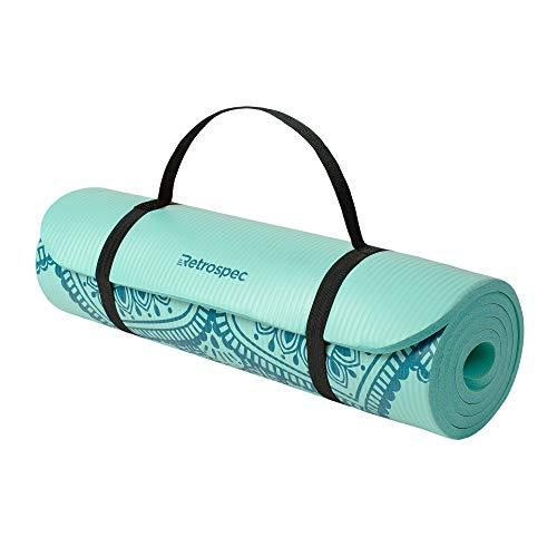 Retrospec Solana Yoga Mat 1″ & 1/2″ Thick w/Nylon Strap for Men & Women – Non Slip Exercise Mat for Yoga