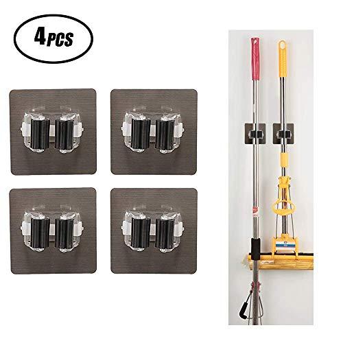 SUNRIZ Besenhalter Selbstklebend, 4 Stück Besen Wandhalterung Werkzeughalter Besenhalter Gerätehalter Wandhalterung für Küche Badezimmer - Wiederverwendbar