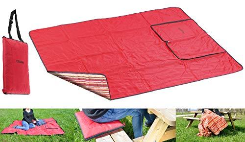 PEARL Picknickdecke mit Kissen: 3in1-Picknickdecke mit Sitzkissen und Zudecke, waschbar, 180 x 150 cm (Picnic Decke)