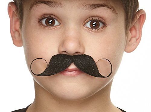 Mustaches Fake Mustache, Self Adhesive, Novelty, Small Imperial False Facial Hair, Costume Accessory for Kids, Black Color