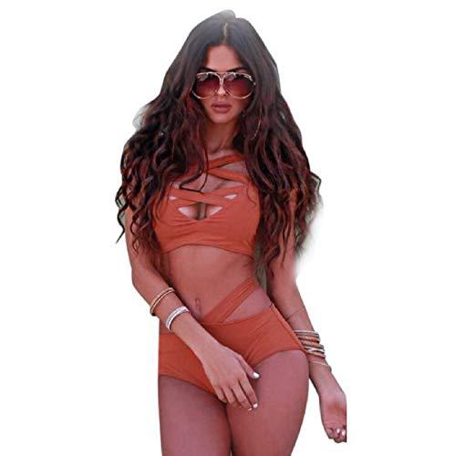 Bikini Sexy Mujer Ronamick,1Set Women Swimwear Bikini Set Bandage Push-Up Swimsuit Beachwear (L,naranja)Bikini Mujer 2019