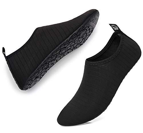 GELANBOO Women Men Water Shoes Barefoot Quick-Dry Slip-on Aqua Socks for Yoga Beach Swim Surf Exercise Striped black7 M US Women/6 M US Men