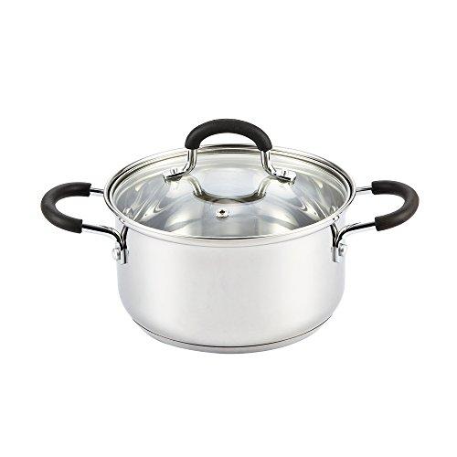 Cook N Home 3 Quart Sauce Pot Casserole Pan Stockpot saucier, 3 QT, Silver