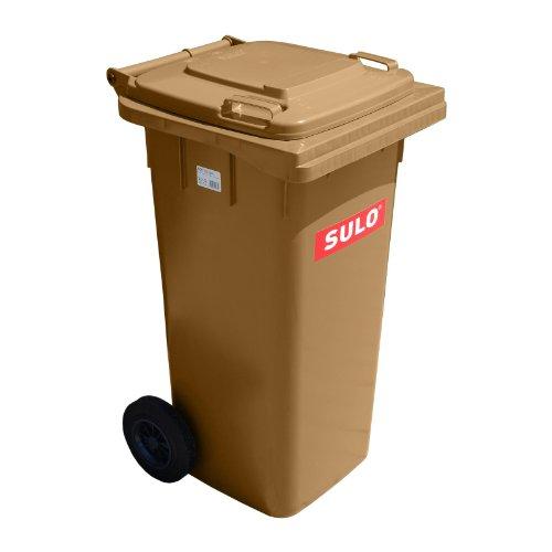 Müllbehälter, Inhalt 120 Liter, braun