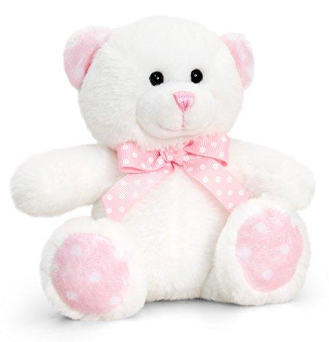 Lashuma Keel Baby Plüschtier Bär Beige - Rosa, Kuscheltier Teddy sitzend 15 cm