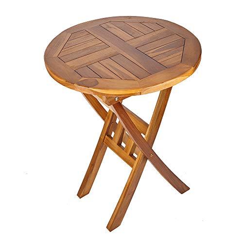 Trueshopping Mesa Redonda de Madera Maciza - Muebles de Exterior de Teca Maciza Ideal para Jardín, Patio, Bistró, Comedor, Bebidas y Más