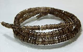 "Jewel Beads Natural Beautiful jewellery Smokey Quartz Faceted Tyre Beads Wheel Shape 4x7.8.mm 19""InchesCode:- JBB-46764"