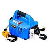 CJCJ-LOVE Mini Elevador Eléctrico Grúa, 220V Carga 300KG Elevación 11.8M Portátil 3In1 Elevación De Cabrestante Multifunción con Control Remoto De Cables Protección contra Sobrecarga,Azul