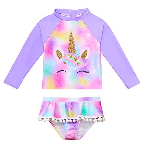 Play Tailor Girls Rash Guard Swimwear Long Sleeve Mermaid Rashguard Swimsuit Set