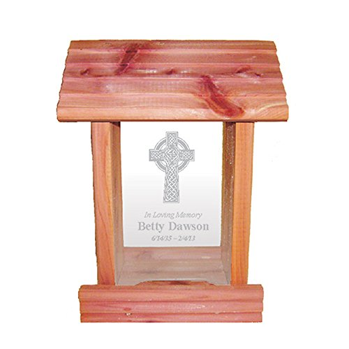 Personalized Memorial Bird Feeder - Hanging Cedar Wood Bird Feeder with Custom Engraved in Loving Memory Inscription & Choice of Theme Sympathy Gift Made in USA (Celtic Cross)