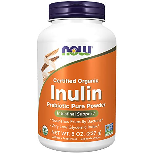 NOW Supplements, Inulin Prebiotic Pure Powder, Certified Organic, Non-GMO Project Verified, Intestinal Support*, 8-Ounce