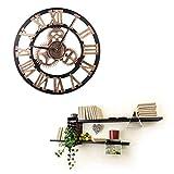 ヴィンテージウォールクロック ヨーロピアンスタイル ギア ローマ デジタル 木の 家具 壁掛 時計、直径 40cm