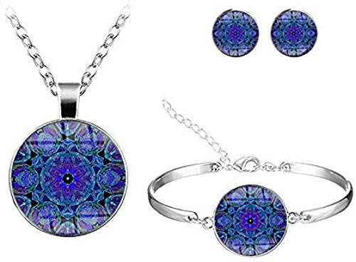 Yaoliangliang Clásico Multicolor Mandala Conjuntos de Flores Joyas Hecho a Mano Patrón de Vidrio Redondo Collar Pulsera Pendientes Conjuntos de joyería