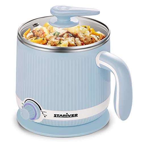 Stariver Electric Hot Pot, 2L Electric Cooker, Multi-Functional Mini Pot for Noodles, Soup, Porridge, Shabu Shabu, Eggs, Ramen with Keep Warm Function, Over Heating and Boil Dry Protection, Blue