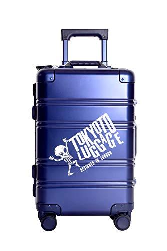 TOKYOTO - Maleta de Cabina 100% Aluminio Puro Metálica Juvenil Ultraligera Equipaje de Mano con Cargador USB, 80000mAh, 55x40x20 cm | Trolley de Viaje Ryanair, Easyjet | Rígida Blue Logo