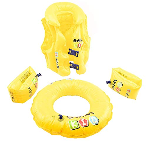 Excellentas Kinder Schwimmring 4 in 1 Set Schwimmflügel Schwimmweste Kinderweste Schwimmhilfe Schwimm Lern Set für Baby und Kleinkind Schwimmbad in gelb