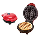 Mini Waffle Maker Machine for Single Waffle, Paninis, Hash browns, Breakfast, Lunch, Snacks & Other Sweet or Savory Treats (Red)