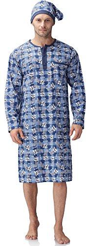 Cornette Herren Nachthemd mit Schlafmütze 110V2016 (Blau(Kaninchen), S)