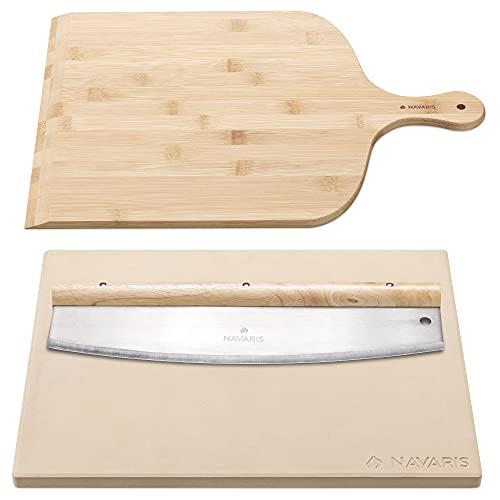 Navaris Piedra para pizza con pala y cuchillo medialuna - Base de cordierita de 38 x 30 CM con accesorio para cortar y paleta - Horno barbacoa grill
