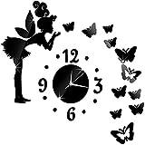 Reloj de cuarzo de pared con diseño de mariposa y hada de ángel con calcomanías de pared de espejo acrílico 3D para sala de estar, niños, niñas, dormitorio, oficina, guardería, decoración...