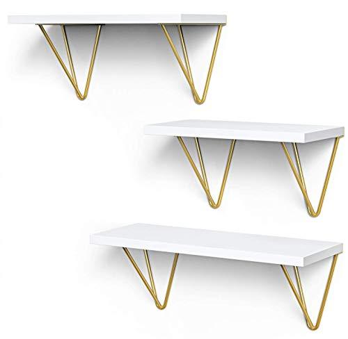 STOREMIC Estantes flotantes blancos de 40 cm, resistentes estantes blancos, juego de 3 con soportes...