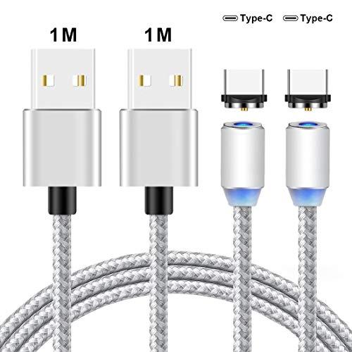 Lively Life Magnetisches Kabel, 2er Pack 2.1A Ladekabel Magnetische USB Typ C Stecker USB 2.0-Kabel kompatibel mit Android 3.3ft / 1m Silber
