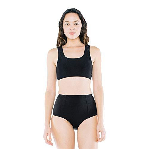 American Apparel Damen High-Waist Bikini Bottom Bikinihose, schwarz, Medium