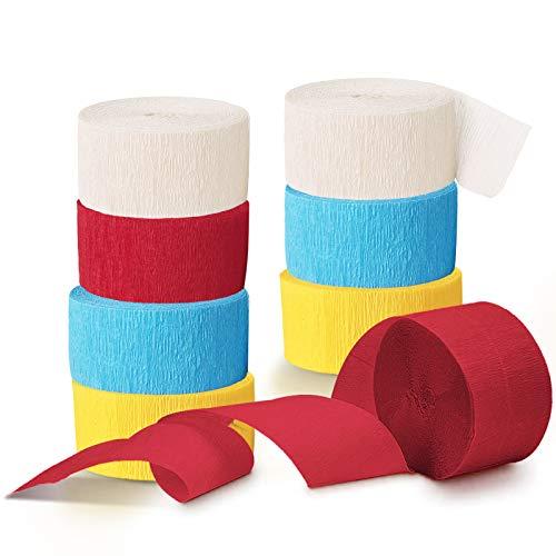 NICROLANDEE Carnival Circus Party Décorations – 8 rouleaux de papier crépon rouge jaune pour anniversaire, fête de classe, mariage, réunion de famille, Cinco De Mayo