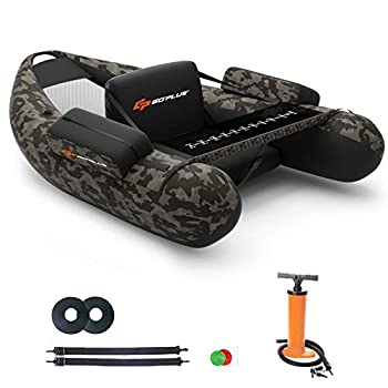 Goplus Inflatable Fishing Float Tube with Storage Pockets Fish Ruler Adjustable Straps 350LBS Load Bearing Capacity  Camouflage Color