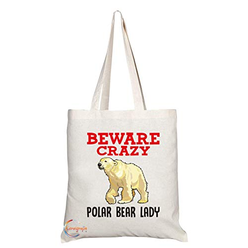 TB365 Pas op Crazy Polar Bear Lady Novelty Cadeau Gedrukt Milieuvriendelijk Stijlvol Lange Handled Tote Schoudertas