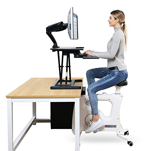 FlexiSpot Under Desk Bike Home Office Exercise Bike Height Adjustable Indoor Fitness Desk Cycle Deskcise Pro White - Relief Sedentary Lifestyle