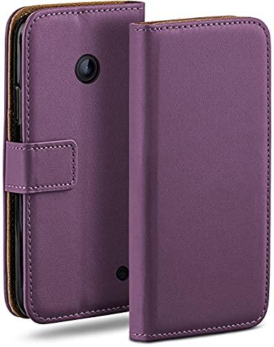 moex Klapphülle kompatibel mit Nokia Lumia 630/635 Hülle klappbar, Handyhülle mit Kartenfach, 360 Grad Flip Hülle, Vegan Leder Handytasche, Lila