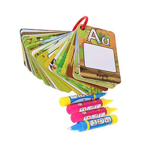 NUOBESTY carte alfabeto per apprendimento precoce carte per lettere da colorare con acqua non tossiche doodle board giocattoli educativi - 1 set di 1 libro di carte con lettere e 4 penne