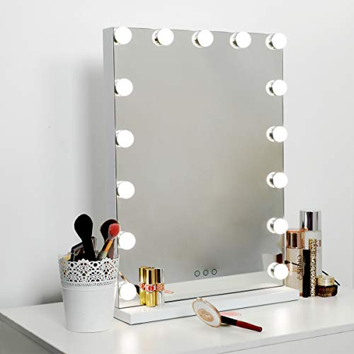 "Hollywood Mirror Makeup Vanity Mirror with Lights, 18.2"" W x 22.8"" H, White"